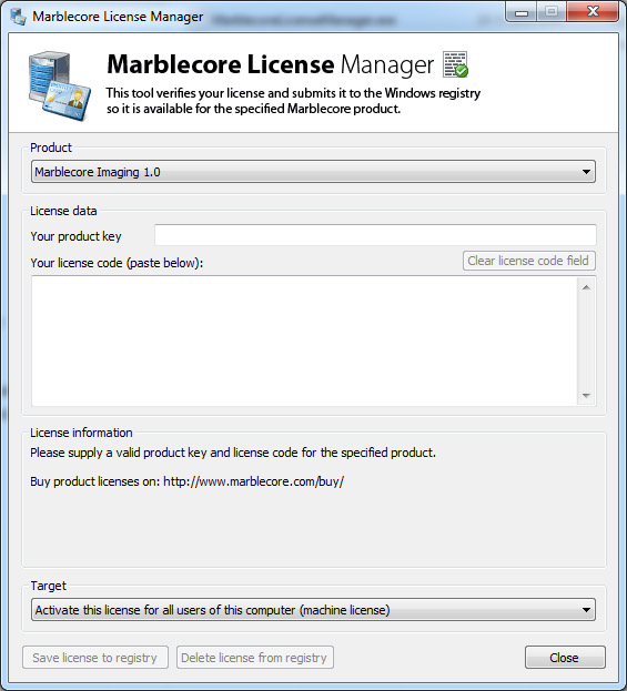 The Marblecore License Manager tool running smooth...